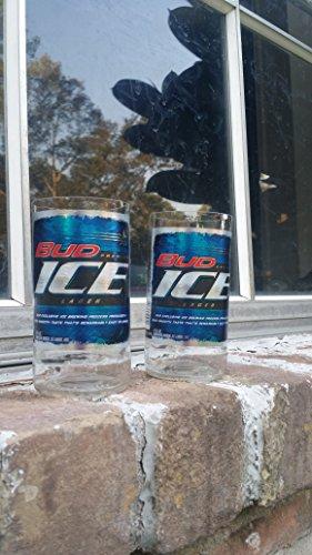 Set of 2 upcycled Bud Ice glasses ()