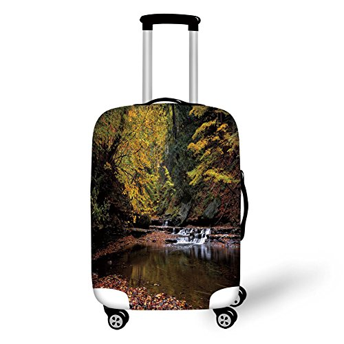 Copper Leaf Waterfalls (Travel Luggage Cover Suitcase Protector,Nature,Small Waterfall Brandywine Creek National Park Ohio Autumn Fallen Leaves,Yellow Green Redwood,for Travel)