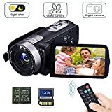 remote camcorder - Camcorder Digital Camera with IR Night Vision HD Digital Video Camera 24.0Mega Pixels 18X Digital Zoom for Selfie Pause Function (Two Batteries Included) (Black)