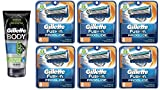 Gillette Body Non Foaming Shave Gel for Men, 5.9 Fl Oz + Fusion Proglide Refill Blades 8 Ct (6 Pack) + Curad Dazzle Bandages 25 Ct