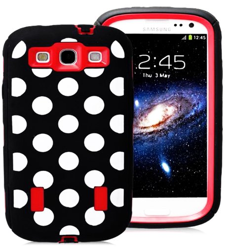 myLife Black and Red - Polka Dot Armor Series (Durable Built in Screen Protector + Urban Body Armor Glove) Case for Samsung Galaxy S3 GT-i9300 and GT-i9305 Touch Phone (Thick Silicone Outer Gel + Tough Rubberized Internal Shell)