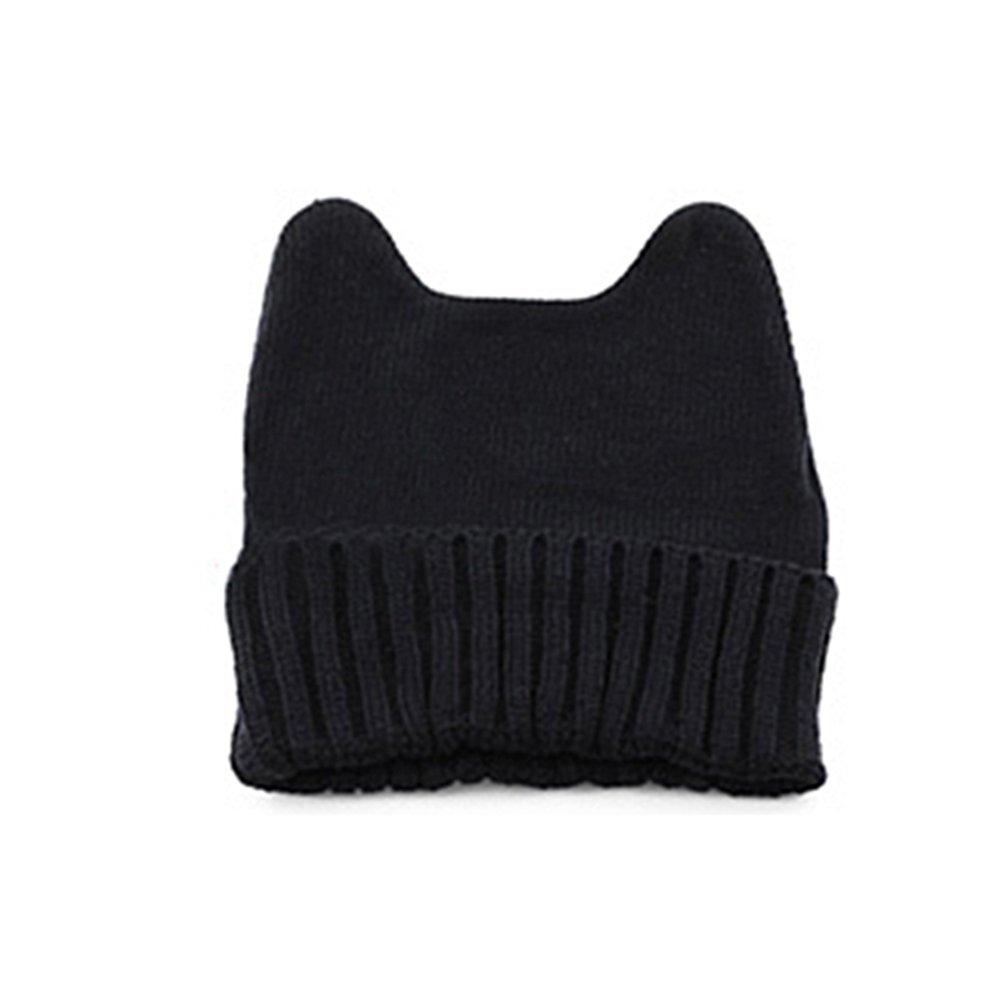 Bluelans® Cute Cat Ear Shape Women Girl Warm Winter Knitted Hat Beanie Cap (Black)