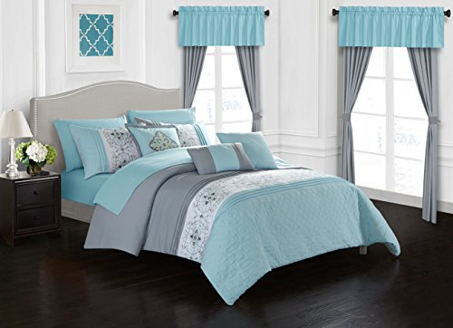 Chic Home Emily 20 Piece Comforter Set Color Block Floral Embroidered Bag Bedding, Queen Aqua Blue 2