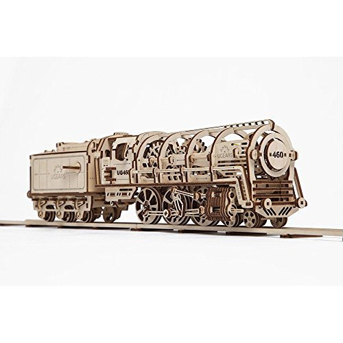 UGEARS Bundle Locomotive and Rails with Crossing Mechanical 3D Puzzle DIY Brainteaser Eco Toys by UGEARS