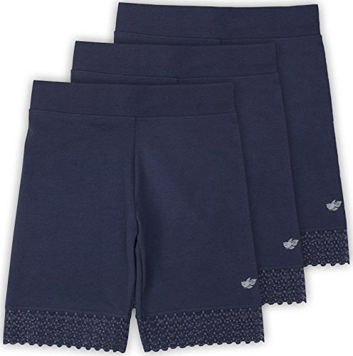 Lucky & Me Jada Little Girls Bike Shorts, Tagless, Soft Cotton, Lace Trim, Underwear, 3 Pack, Navy, 2/3 by Lucky & Me