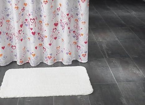 Tenda da doccia in tessuto immagine cuori e decorazioni colore