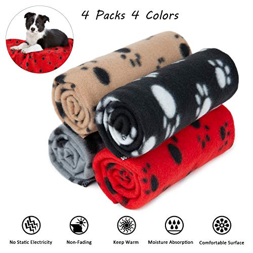 4 Pack Puppy Blanket with Paw Print, Dog Cat Fleece Warm Blankets, Pet Soft Sleep Bed Cover for Small Animals