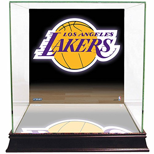 NBA Los Angeles Lakers Glass Basketball Display Case with Team Logo Background by Steiner Sports