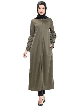 03354669d1657 Amazon.com: Turkish Khaki Unlined Crew Neck Modesty Abaya Long Dress Arabic  Koftan for Muslim Women: Clothing