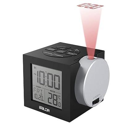CHRRI Reloj De Proyección, Pantalla Digital Reloj Despertador Siete-Color Contraluz Dormitorio Despertador Reloj