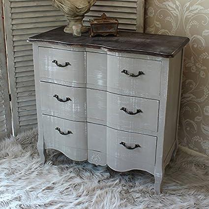 Home Furniture francese grigio stile shabby vintage chic cassettiera ...