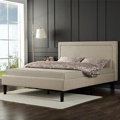 home, kitchen, furniture, bedroom furniture, beds, frames, bases,  beds 7 on sale Zinus Mckenzie Upholstered Detailed Platform Bed / Mattress Foundation deals