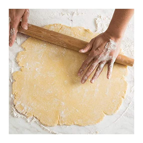 """French Wooden Rolling Pin 18"""" x 1.55"""" for Baking Pizza Pastry Dough, Pie Crust & Cookie - Kitchen Cuisine Utensil Smooth Tools Gift Ideas for Professional Bakers, Restaurants, Grandmas - MR. WOODWARE 3 ✅ MASSIVE 18"""" INCH FRENCH ROLLING PIN - Mr. Woodware offers you a professional wooden french rolling pin for rolling your pizza, pastry or pie dough and storing away. ✅ CRAFTED WITH CARE - High quality beech wood, tapered, easy-grip very smooth on touch for endless rolling. ✅ DISHWASHER SAFE - There are 2 ways of cleaning: You can let dishwasher do the job or wipe it with a clean cloth. Rinsing under the water is also good especially if dough is stuck to the pin just flour the pin lightly, then brush the flour and dough off the pin with hands and the wipe it with a towel."""