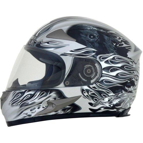 AFX FX-90 Reaper Helmet , Gender: Mens/Unisex, Helmet Type: Full-face Helmets, Helmet Category: Street, Distinct Name: Silver, Primary Color: Silver, Size: XS 0101-6839 Afx Street Helmet
