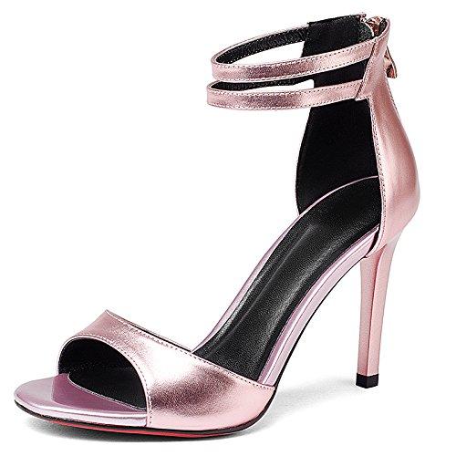 Zapatos de pescado tacones altos de Europa y América zapatos blancos de sandalias blancas Pink