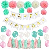 51 Pcs Birthday Party Decoration Supplies Kit - Mint Green, Pink and Cream Happy Birthday Banner with Tissue Paper Pom Poms, Tassel and Latex Balloons For Birthday Party Decoration