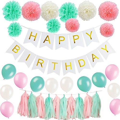 51 Pcs Birthday Party Decoration Supplies Kit - Mint Green, Pink and Cream Happy Birthday Banner with Tissue Paper Pom Poms, Tassel and Latex Balloons for Birthday Party Decoration (Mint Green)