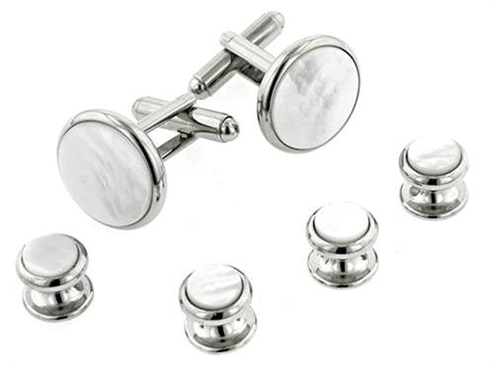 JJ Weston Mother of Pearl Tuxedo Cufflinks and Shirt Studs. Made in the USA. RS9-SS-MOP