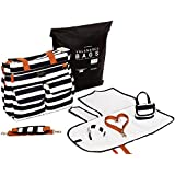 Diaper Bag for Baby Boys & Girls - Stylish & Durable Black/White Stripe Nappy Weekender Tote Bag - Large Capacity Purse with Stroller Straps, Changing Pad, Pacifier Clip, Pacifier Pod