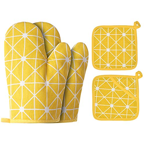 Win Change Oven Mitts and Potholders BBQ Gloves-Oven Mitts and Pot Holders with Recycled Cotton Infill Silicone Non-Slip Cooking Gloves for Cooking Baking Grilling (4-Piece Set,Yellow)