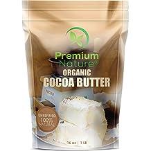 Organic Pure Raw Cocoa Butter - 16 oz Unrefined Natural Vegan Cacao Bar Anti Aging Body Lotion Pregnancy Belly Stretch Mark Cream Eczema Skin Care Soap Making Coco Lip Balm Stick Base