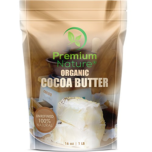 Organic Pure Raw Cocoa Butter - 16 oz Unrefined Natural Vegan Cacao Bar Anti Aging Body Lotion Pregnancy Belly Stretch Mark Cream Eczema Skin Care Soap Making Coco Lip Balm Stick Base (Aging Anti Cream Protective Body)
