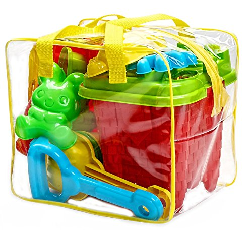Beach Toys Plastic (15-Pieces Beach Sand Toys Set in Zippered Bag Castle Bucket by Bo Toys)