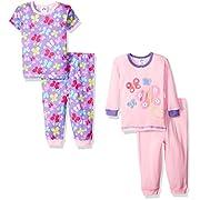 Gerber Little Girls' Four-Piece Cotton Pajama Set, Ladybug, 12 Months