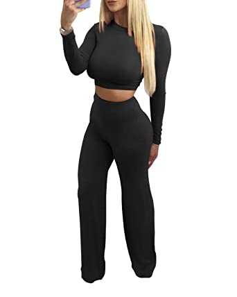 9f1f80e942b SINRGAN Women s Sexy Casual Two Piece Outfits Jumpsuit Romper Long Sleeves  Crop Top Pants Set Black