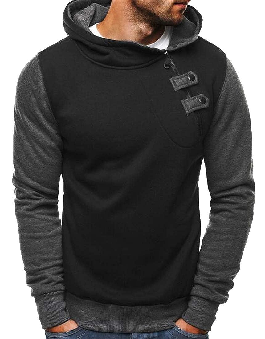 Fensajomon Men Hooded Cotton Contrast Athletic Fleece Pullover Hoodie Sweatshirt