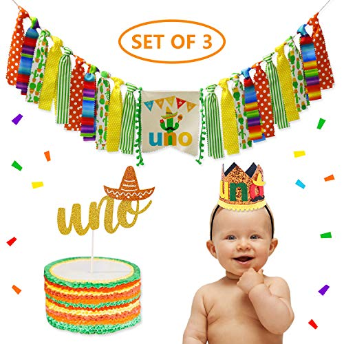 3-In-1 Fiesta First Cactus Uno Happy Birthday Party Decorations- Uno Highchair Banner+Hat+Cake Topper]()