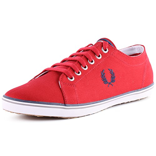 Fred Perry Kingston Twill B6259 Mens Textile Trainers Dark Red 8 US