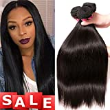 QinMei Brazilian Hair Straight Bundles 8A Grade 10 12 14 inches 100% Unprocessed Virgin Straight Human Hair 3 Bundles Weave Extensions Natural Color