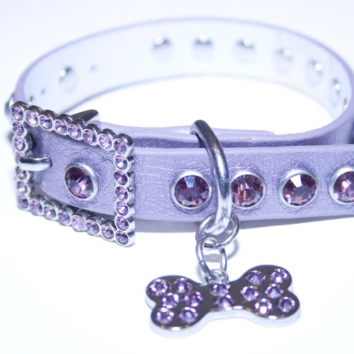 "Large: Purple Leather, Rhinestone Dog Collar w/ Bling Dog Bone Pendant , Neck Size 13""-15"""