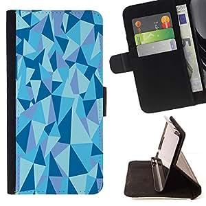 For HTC One A9 Case , Estructura Geométrico Pirámide Triángulo Azul- la tarjeta de Crédito Slots PU Funda de cuero Monedero caso cubierta de piel
