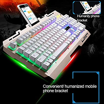 Color : Gold Black Computer Peripherals ZGB G700 104 Keys USB Wired Mechanical Feel RGB Backlight Metal Panel Suspension Gaming Keyboard with Phone Holder Computer Keyboards