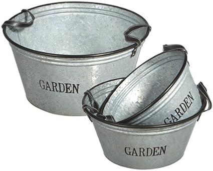 3 Piece Round Pot Planter Set Garden Outdoor