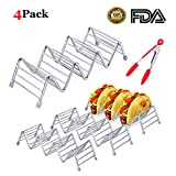 4 Pack 304 Stainless Steel Taco Holders Stand- Mexican Pancake Rack W Space for Baking with Silicone Clamp,Menghao