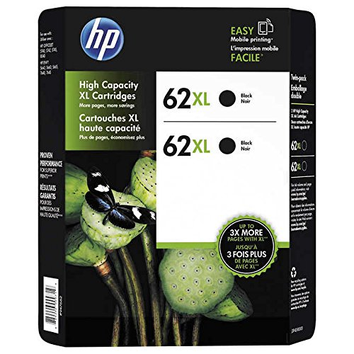 For HP 62xl Black Ink Cartridges Double Pack