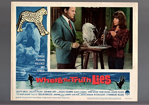 MOVIE POSTER: WHERE THE TRUTH LIES-1962-LOBBY CARD-DRAMA-JUKIETTE GRECO-JEAN--VG/FN (Greco Jeans)