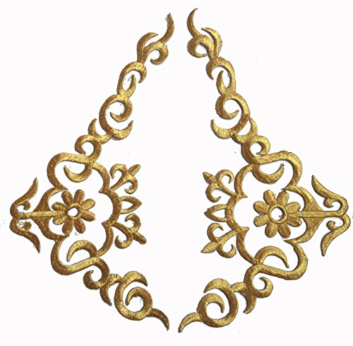 Two Hug Gold Flower Leaves Iron on Embroidered Appliques Patch Flower Motifs, Craft, Sewing, Embroidery Patches, Embroidered Lace Fabric Ribbon Trim Neckline Collar (Gold) (Pants Jeans Ribbon)