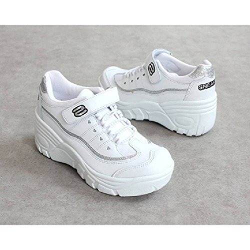 EpicStep Womens Casual Velcro Lace Up Platform Wedges Heels Cheerleaders Shoes Sneakers White spgj5PeB
