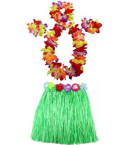 AniiKiss 1 Set 40cm Kids Party Hawaii Dress Hula Grass Skirt (Green)