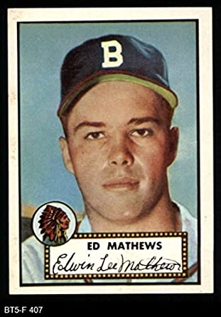 Amazoncom 1952 Topps Reprint 407 Eddie Mathews Boston