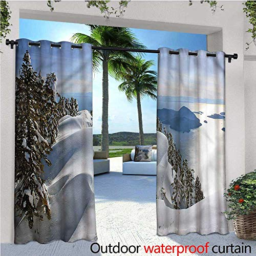 (warmfamily Winter Patio Curtains Pacific Ocean Mountains Outdoor Curtain for Patio,Outdoor Patio Curtains W84 x L84)
