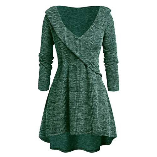 Womens Casual Long Sleeve V-Neck Tunic High Low Plunging Neck T-Shirt Plus Size Sweatshirt Tops Pullover Blouses (L-5XL)