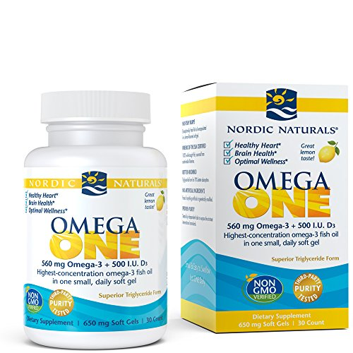 Nordic Naturals Omega ONE - Omega-3 Supports Heart and Brain Health, Highest Concentration Omega-3 with 500 IU of Vitamin D3 in One Easy to Take Soft Gel, 30 Count