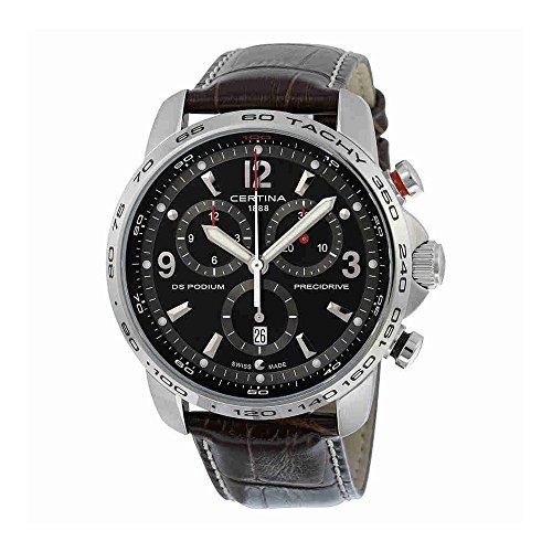 Certina DS Podium Big Size - Chronograph Genuine Brown Leather Mens Quartz Watch C0016471605700