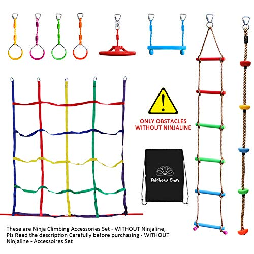 Rainbow Craft Hanging Obstacle Course for Kids - Portable 50' Ninja Slackline Monkey Bar Kit with 10 Hanging Obstacles Including Gym Ring, Climbing Ladder, Climbing Ropes and Swing Seat ()