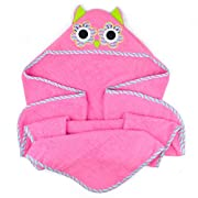 DII 100% Cotton, Machine Washable, Perfect Shower, Baby or Birthday Gift for Toddler 32x32  Hooded Towel for Infant to Toddler - Owl